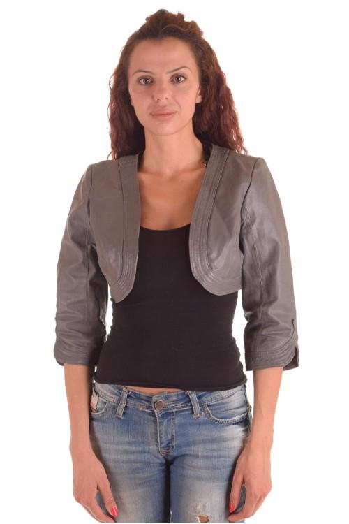 Женская серая короткая кожаная куртка 29.00