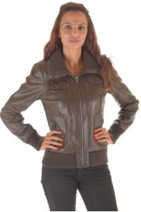 Дамско яке от лъскава естествена кожа