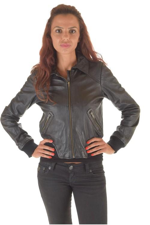 Женская кожаная куртка с талией и рукавами из хлопка 62.00