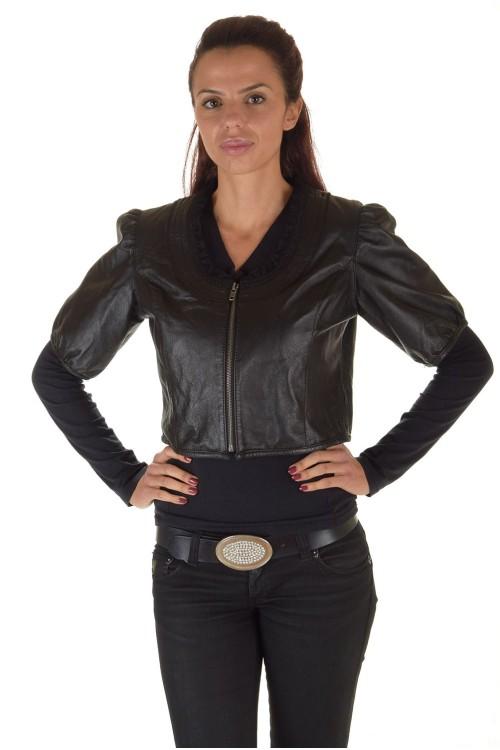 Современная женская короткая кожаная куртка 39.00