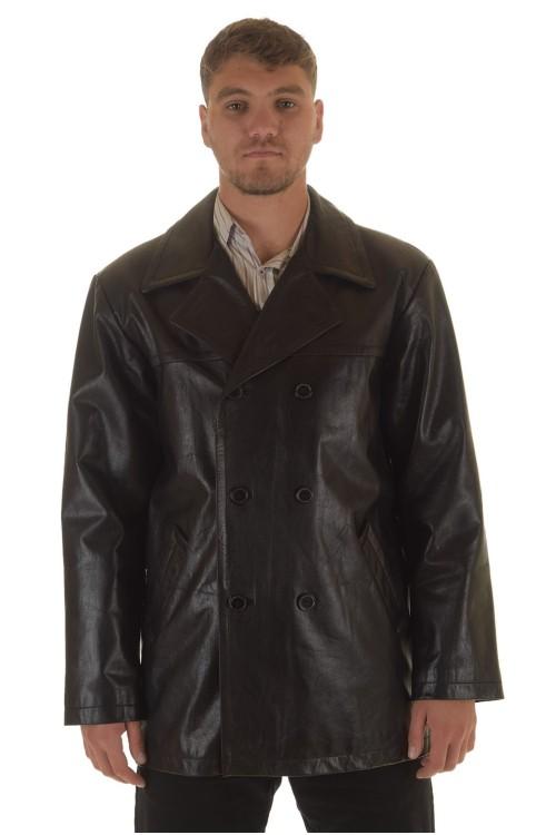 Мъжко яке от лъскава свинска естествена кожа 74.00