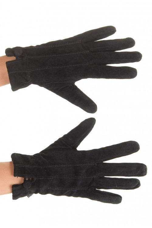 Черни дамски велурени ръкавици от естествена кожа 15.00