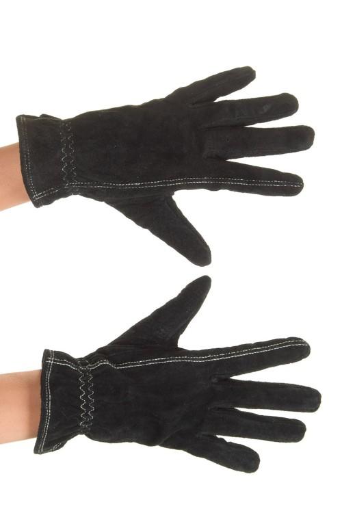 Черни велурени ръкавици от естествена кожа 15.00