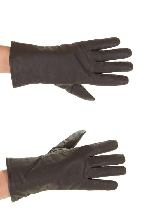 Тъмно кафяви дамски кожени ръкавици 15.00