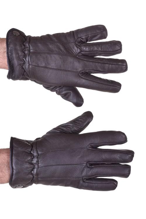 Тъмно кафяви мъжки кожени ръкавици 18.00