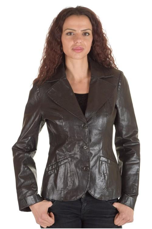 Тъмно кафяво кожено сако 62.00
