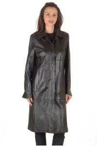 Стилен дамски кожен шлифер