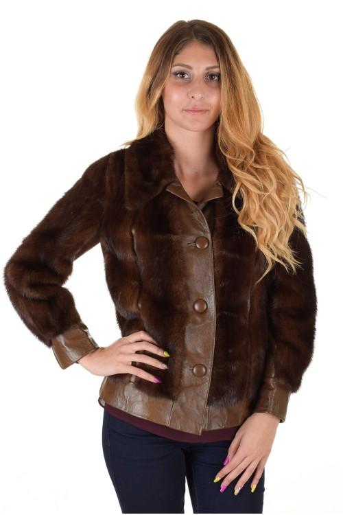Тъмно кафяво дамско палто от норка 279.00