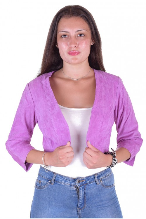 Модерно дамско велурено яке от естествена кожа 49.00