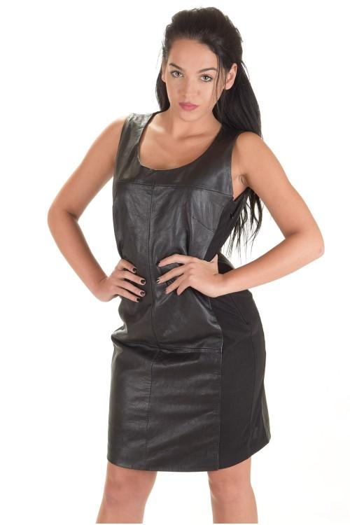 Стилна дамска кожена рокля 84.00