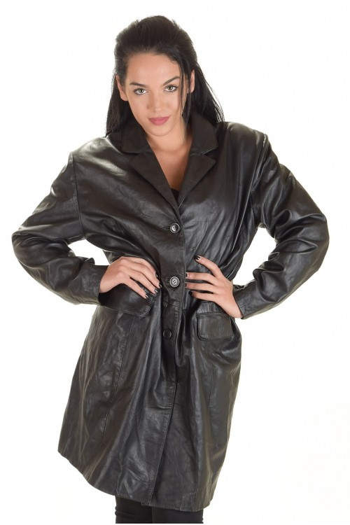 Красив дамски кожен шлифер 64.00