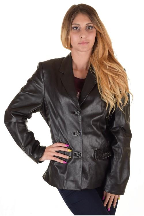 Черно дамско кожено сако 64.00