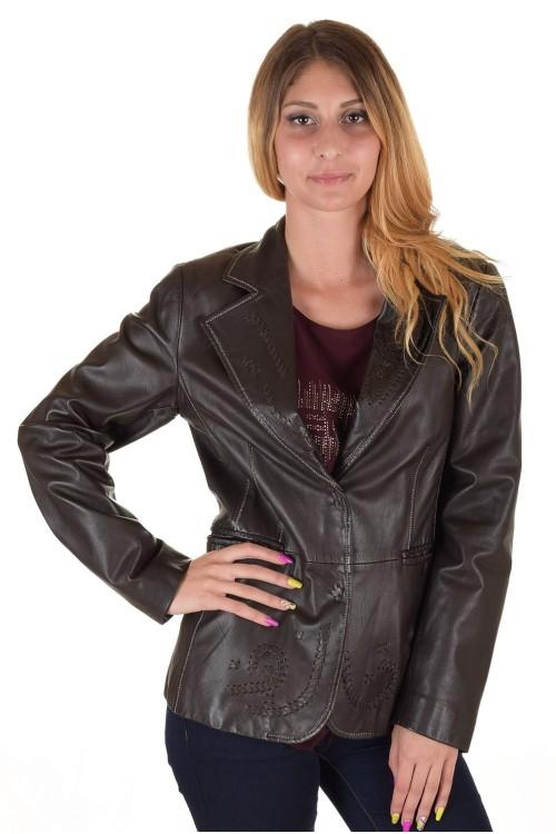 Тъмно кафяво дамско кожено сако 75.00