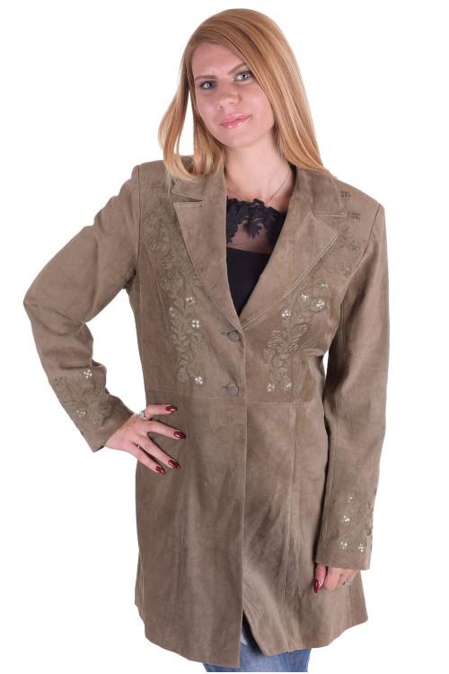 Зелен велурен шлифер от естествена кожа 45.00