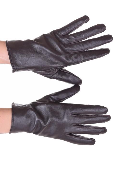 Тъмно кафяви дамски кожени ръкавици 18.00
