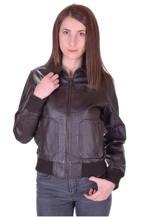 Тъмно кафяво дамско кожено яке 64.00