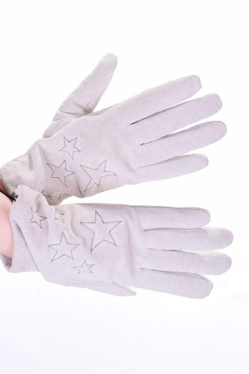 Бели велурени ръкавици от естествена кожа 18.00