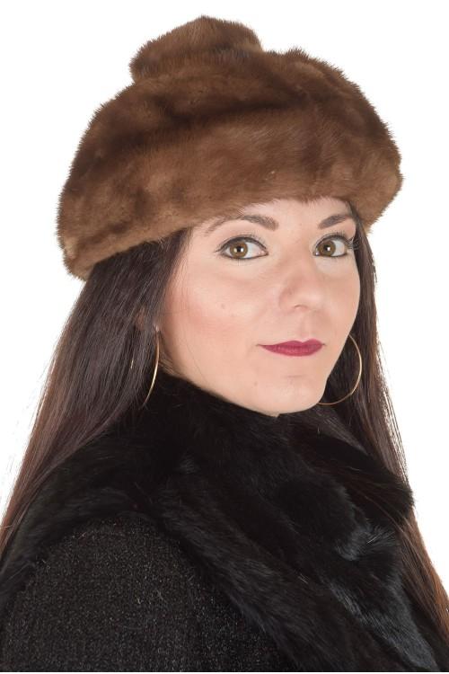 Светло кафява дамска шапка от норка 29.00