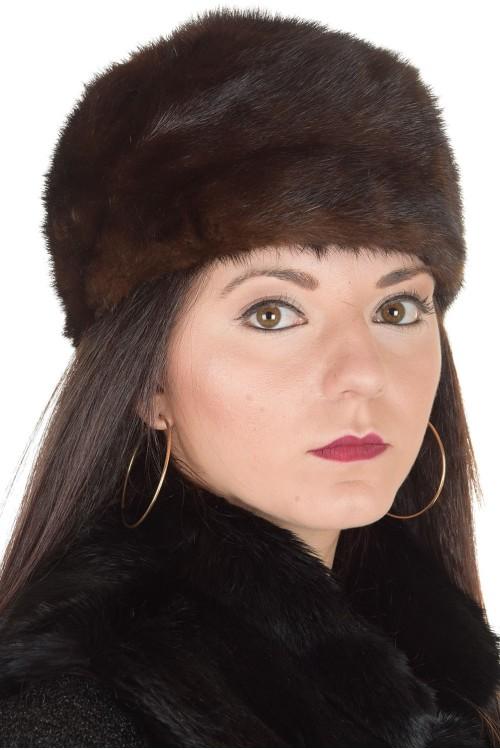 Тъмно кафява дамска шапка от естествен косъм 29.00