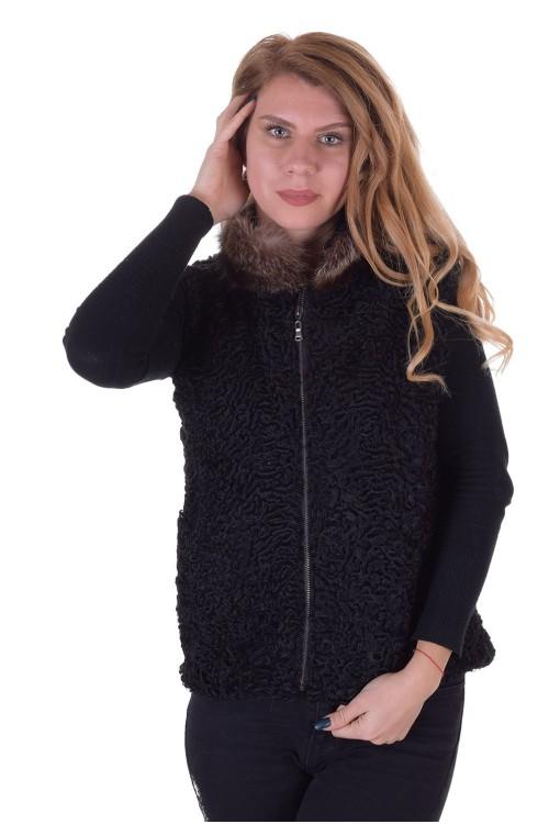 Черен дамски елек от естествен косъм 119.00