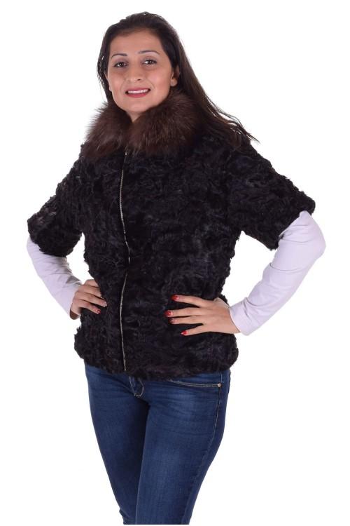 Черно дамско палто от астраган 129.00