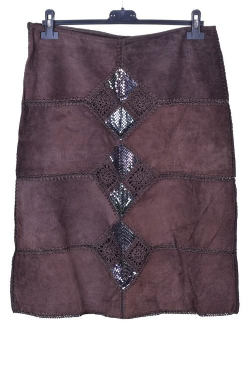 Тъмно кафява дамска велурена пола от естествена кожа 18.00