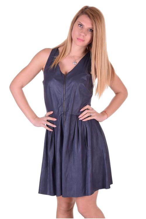 Тъмно синя дамска кожена рокля 69.00