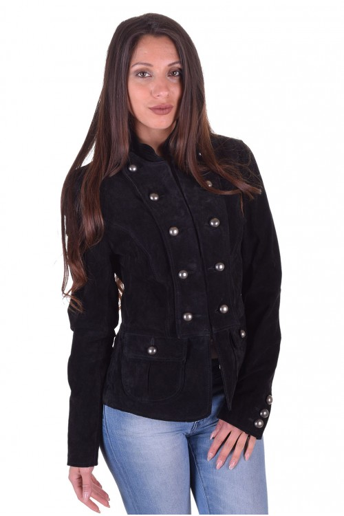 Черно дамско велурено яке от естествена кожа 39.00