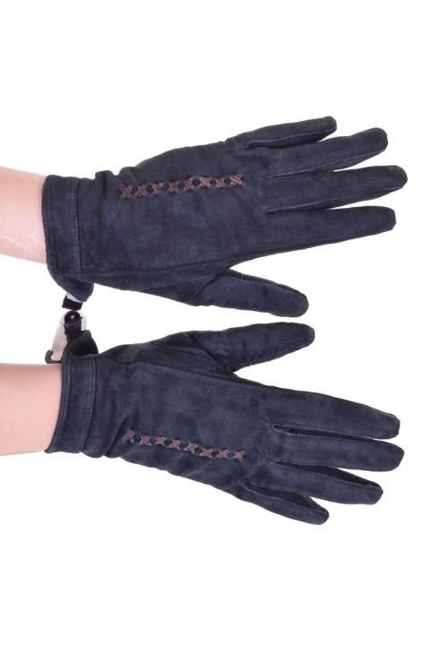 Тъмно сини дамски велурени ръкавици от естествена кожа 18.00
