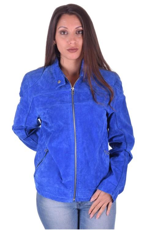 Тъмно синьо велурено яке от естествена кожа 49.00