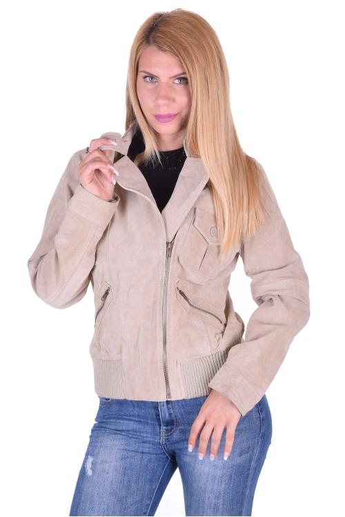 Бежово велурено яке от естествена кожа 15.00