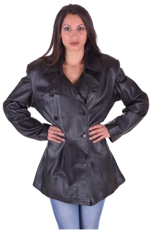 Черен дамски кожен шлифер 64.00