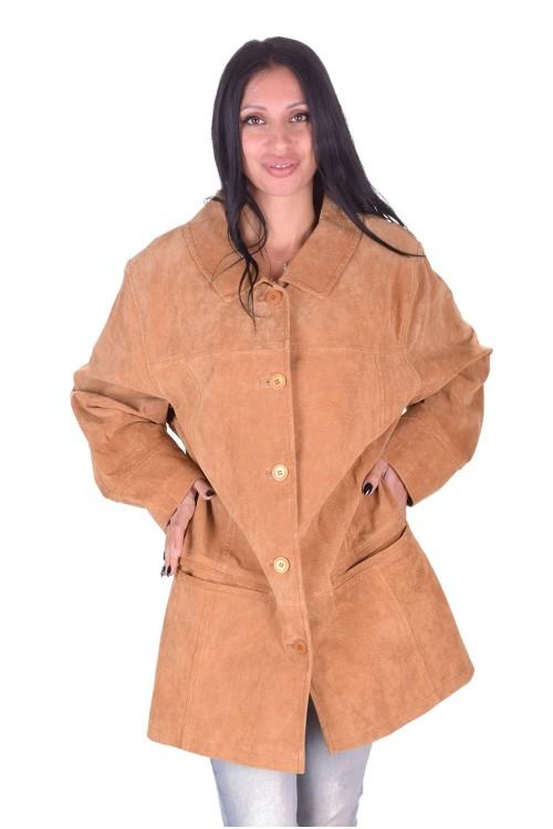 Бежово велурено яке от естествена кожа 45.00