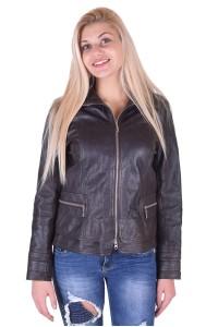 Тъмно кафяво дамско кожено яке
