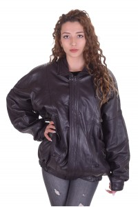 Черно кожено яке от естествена кожа