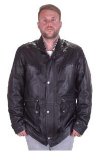 Хорошая мужская черная куртка из натуральной кожи