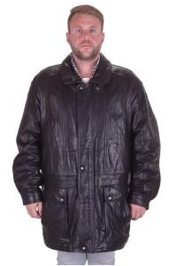 Черная долгая куртка из натуральной кожи