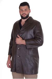 Тъмно кафяв шлифер от естествена кожа