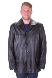 Стилно черно кожено яке от естествена кожа