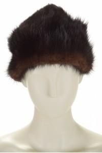 Тъмно кафява шапка от норка
