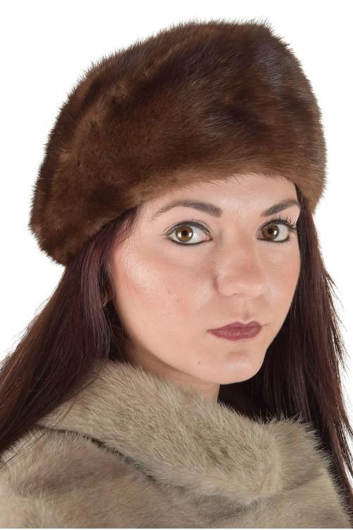 Светло кафява дамска шапка от естествен косъм 29.00