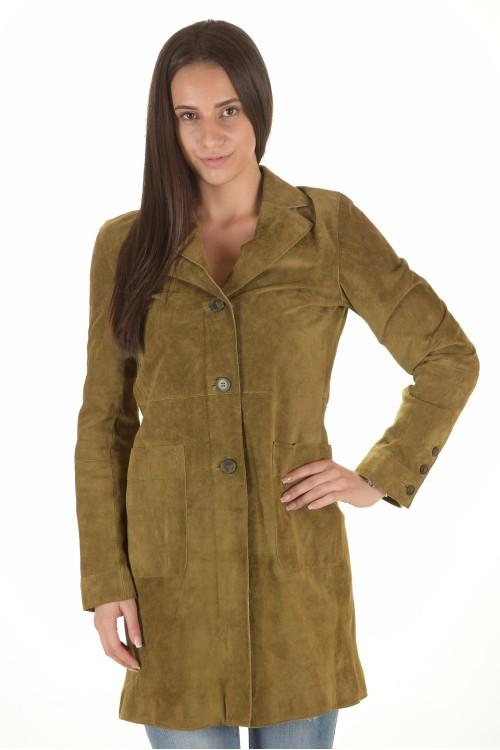 Зелен велурен шлифер от естествена кожа 31.90
